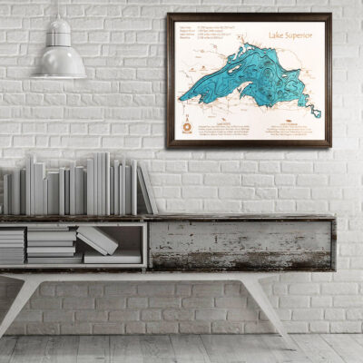 Lake Superior 3d wood map