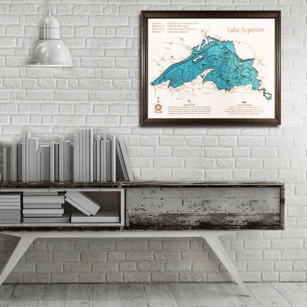 Lake Superior 3d wood map