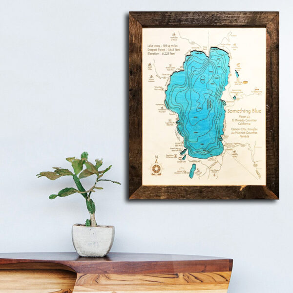 baja california wood map framed art