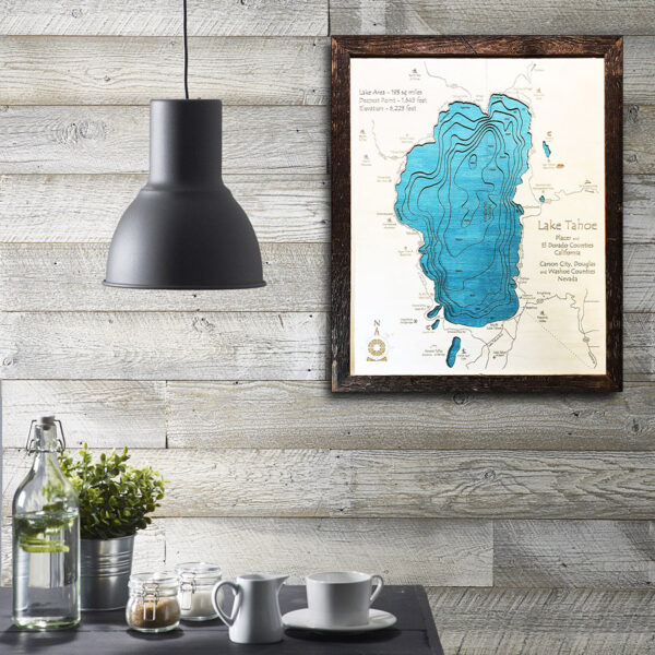 Lake Tahoe laser printed map 3d wooden framed topographic home decor