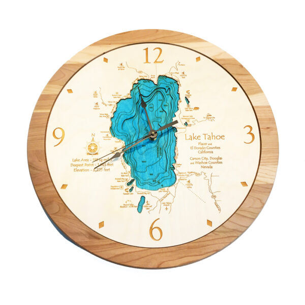 Lake Tahoe Nautical Wooden Clock, 3D Map of Tahoe