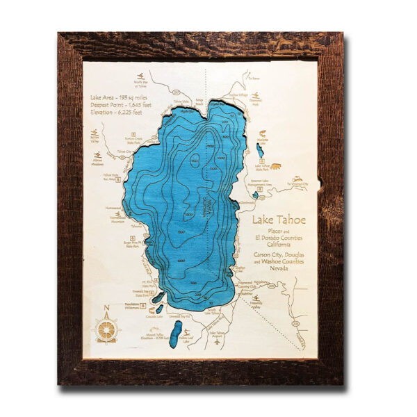 Lake Tahoe wood map, laser-etched, engraved