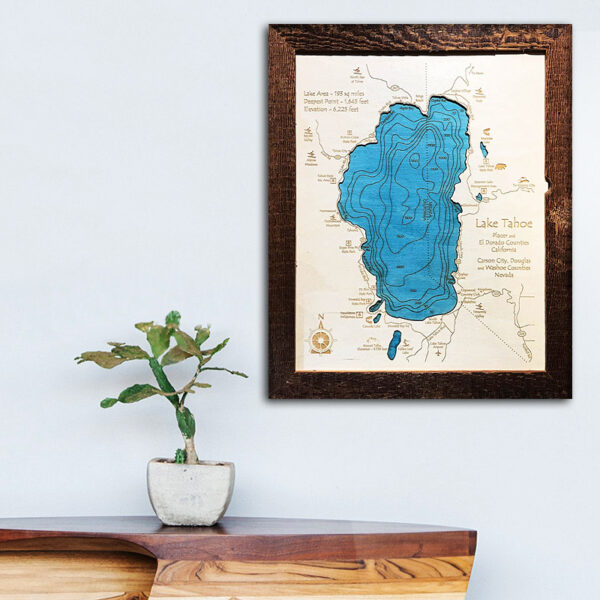Lake Tahoe wood map for sale
