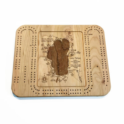 Laser-etched wood cribbage board of Lake Tahoe