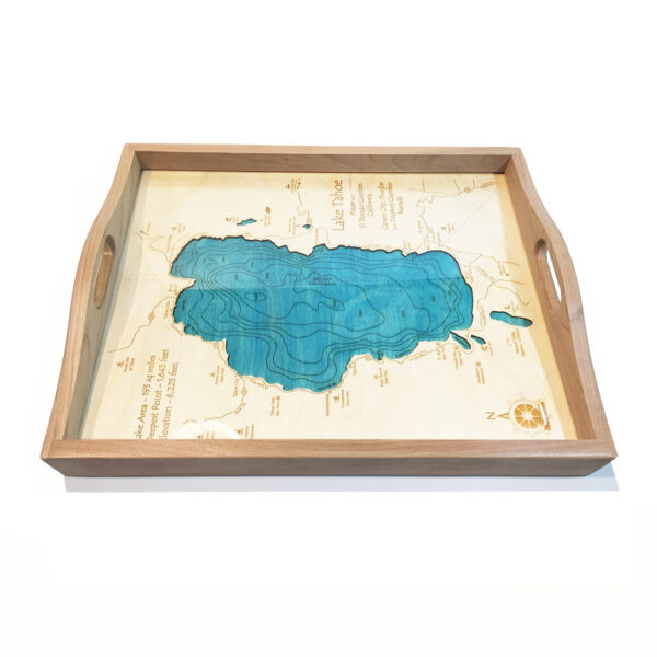 Lake Tahoe Wood Serving Tray, Lake Tahoe Map