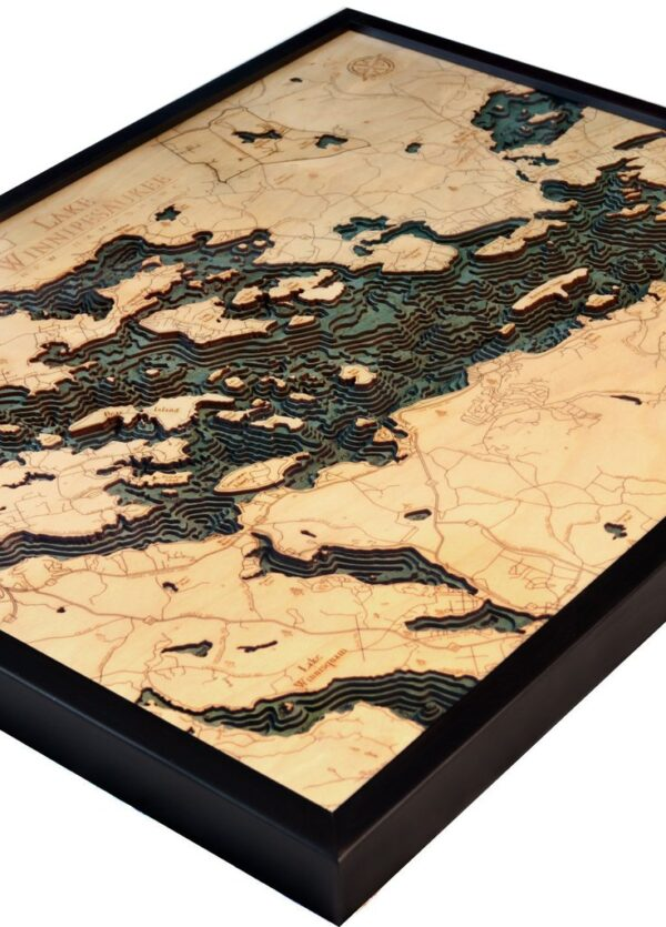 Lake Winnipesaukee Wood Map Framed 3d Topographic Wood Chart