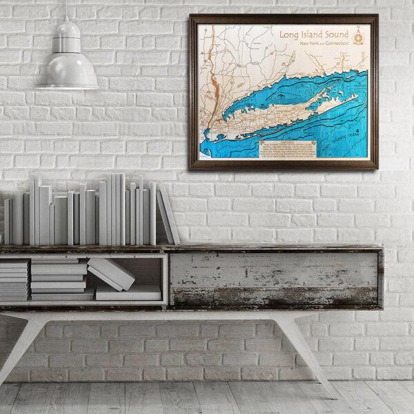 Long Island Sound 3d wood map