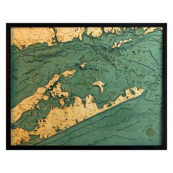 Long Island Sound / The Hamptons 3D Wood Map