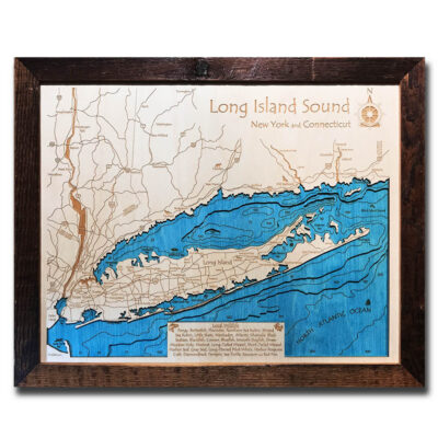 3d wood map of long island sound and hamptons