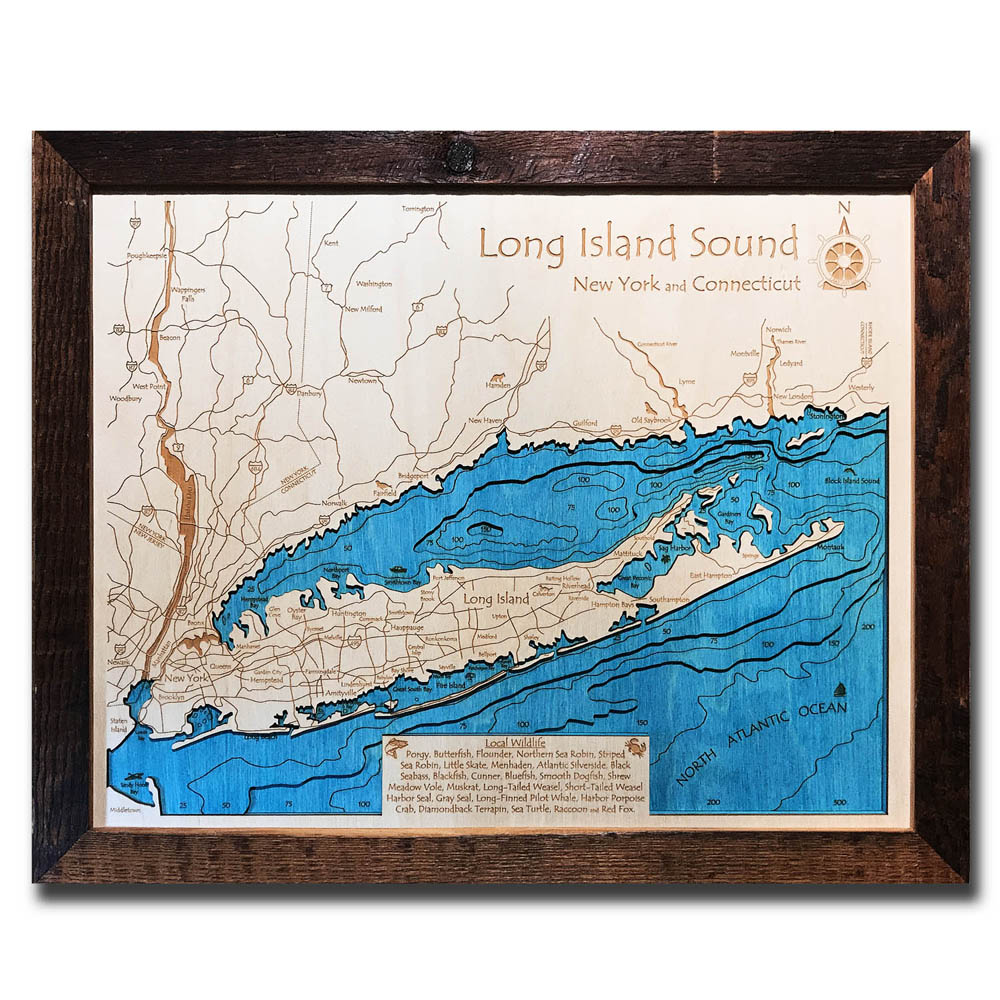 Long Island Sound / The Hamptons 3D Nautical Wood Map, Barnwood Frame, on britannia map, parkland map, hudson valley area map, montauk map, oakridge map, fire island, huntington map, long island, woodlands map, sag harbor, jill flint, new york map, brentwood map, harlem map, water mill, sundance map, new rochelle map, east hampton, southampton map, somerset map, langley afb housing map, richmond map, bayview map, soho map, long island map, fire island map,