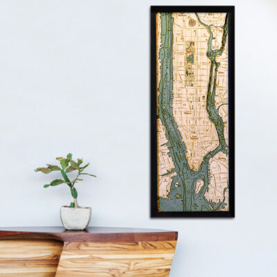 New York City map, New York City 3d wood poster map