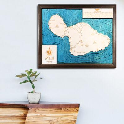 Maui 3d wooden map