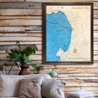 Monterey Bay 3d wooden map