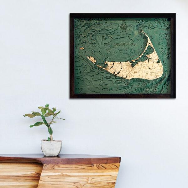 Nantucket 3d wood map, Nantucket poster