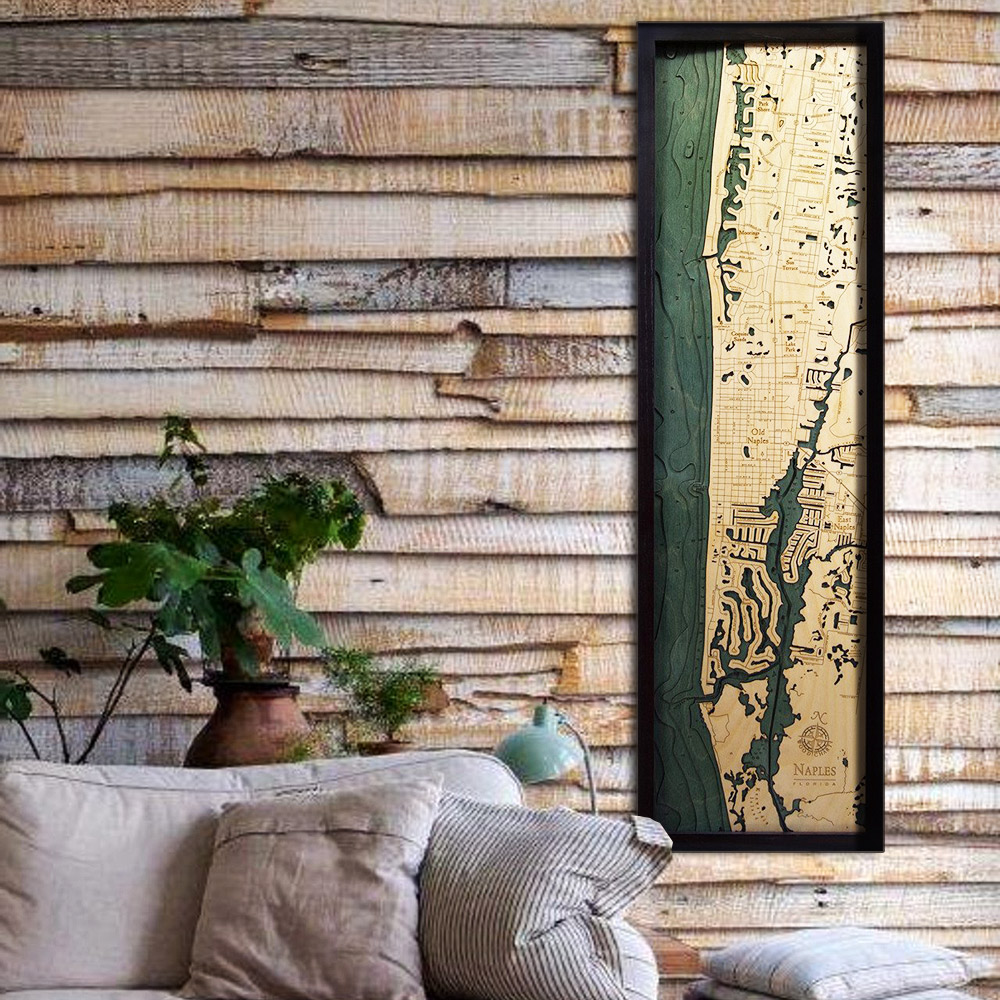 Map Of Naples Florida.Naples Fl Wood Map Framed 3d Topographic Wood Chart