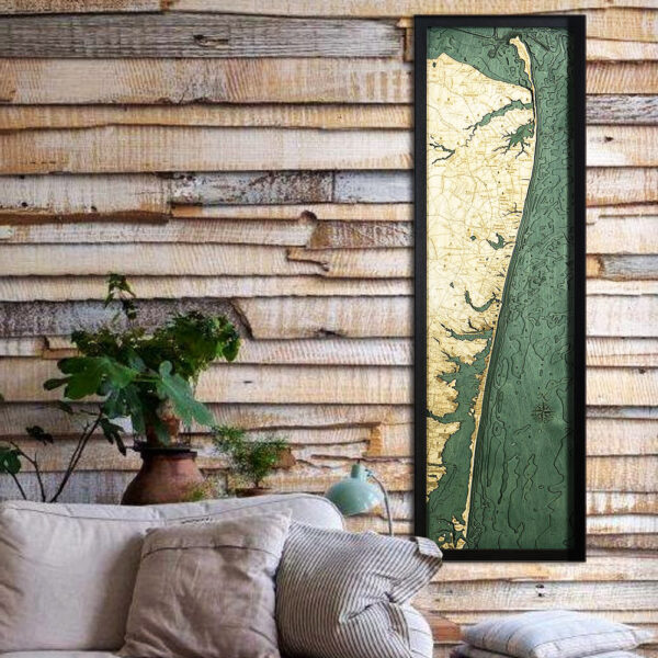 New Jersey Shore wood map, New Jersey Shore 3d wood poster