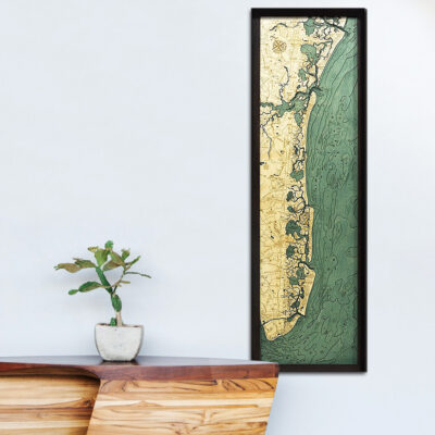 New Jersey Shore Wood Map