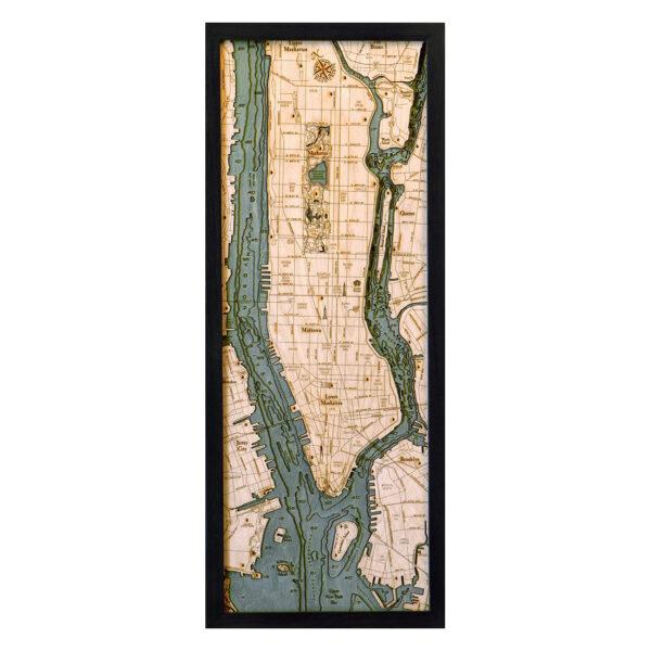 New York Wood Map Manhattan 3d