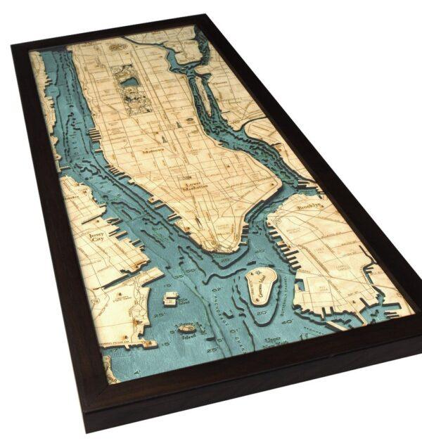 Manhattan Wood Map NYC 3D