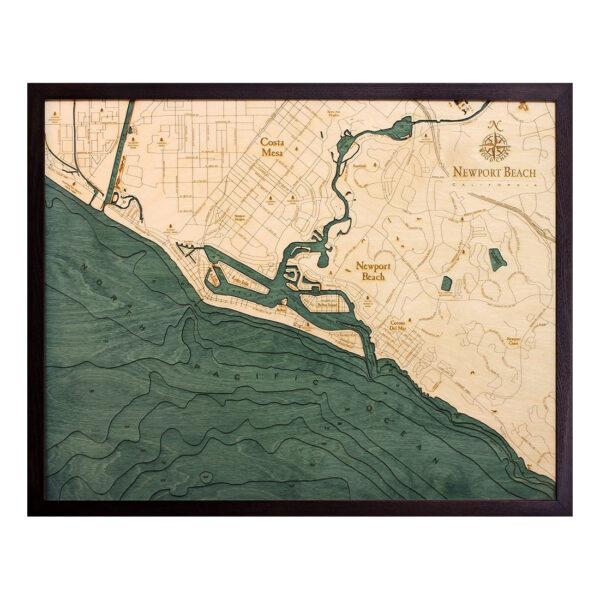 Newport Beach, California 3-D Nautical Wood Chart, 24.5″ x 31″
