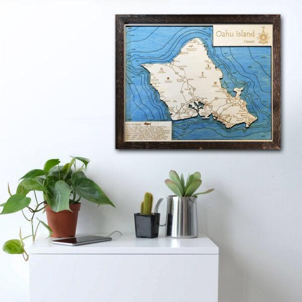 Oahu wood map for sale, Oahu poster wall art