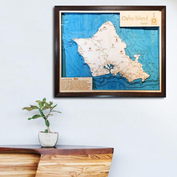 Oahu 3d wood map