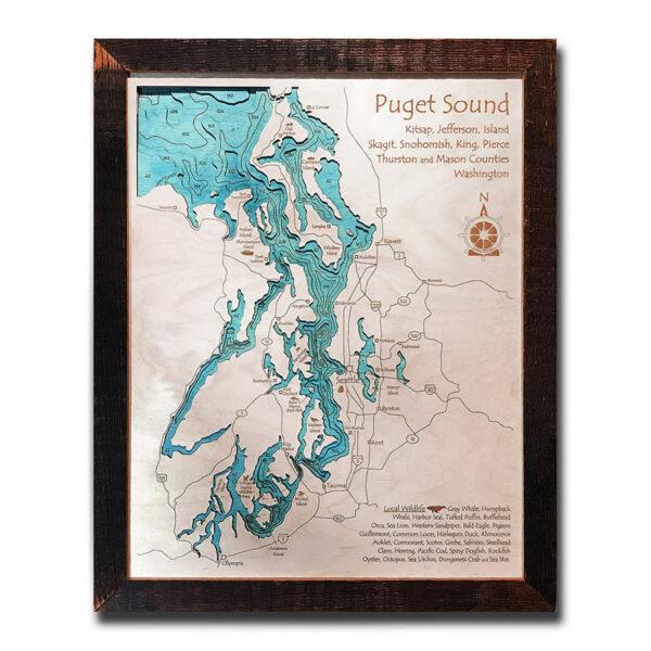 Puget Sound wood map 3d laser printed poster