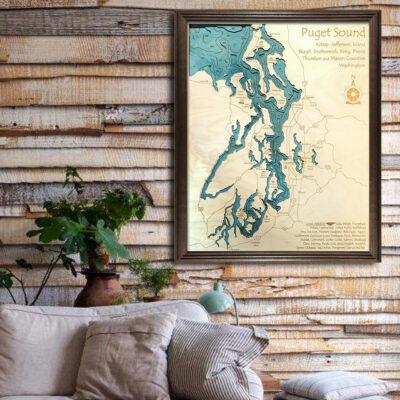 Puget Sound 3d wood map