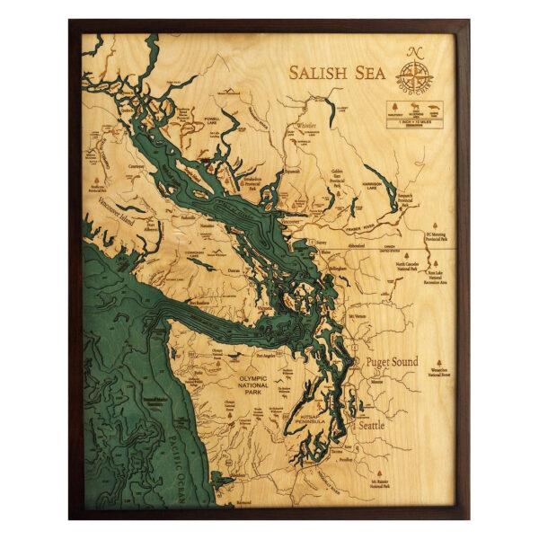 3D wood map of the Salish Sea, Nautical Chart