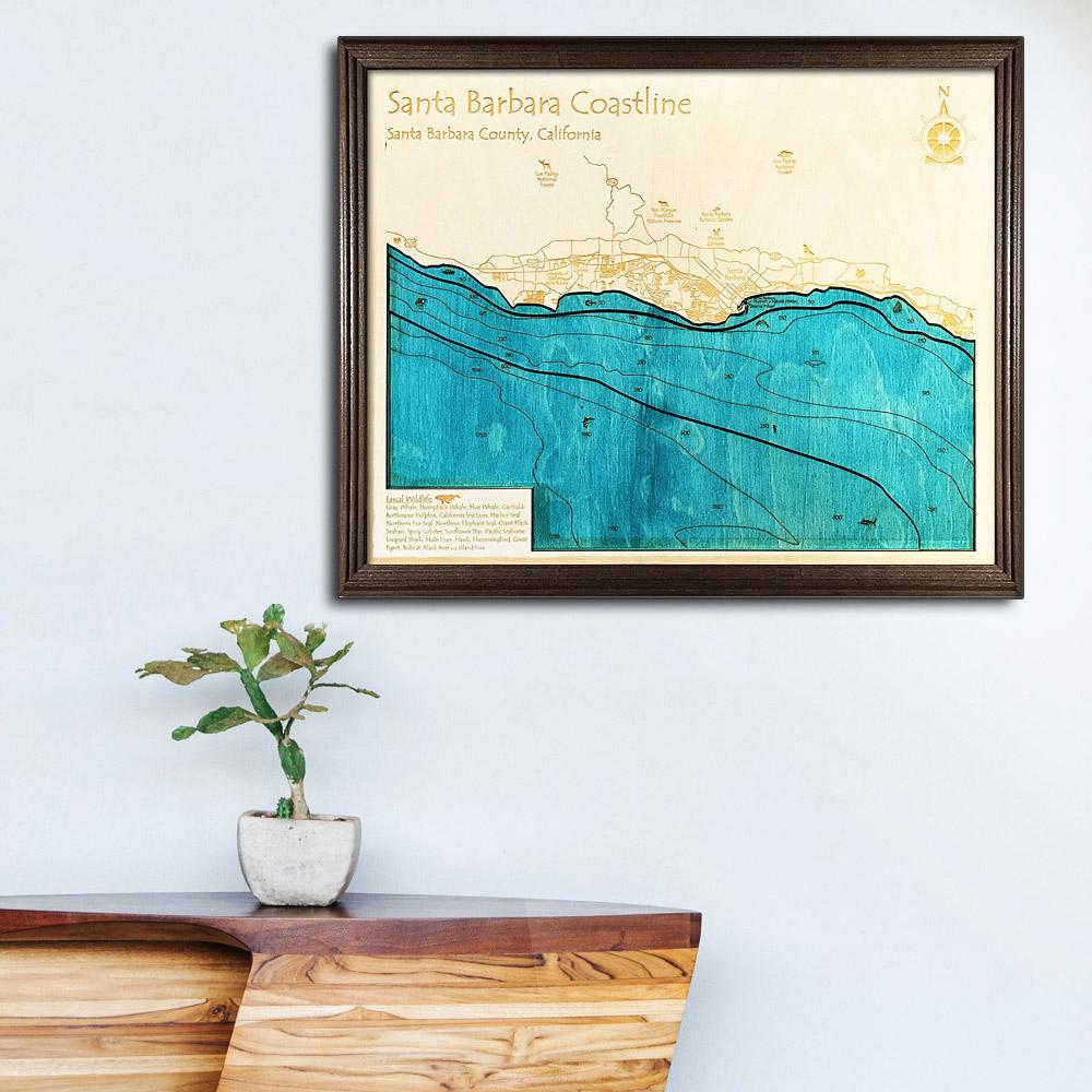 Santa Barbara Wooden Map