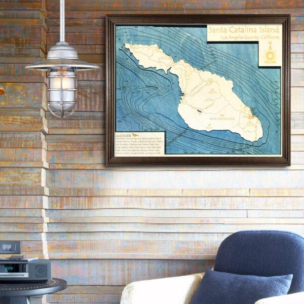 Catalina 3d wood map california