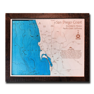San Diego Coast wooden map 3d laser etched poster