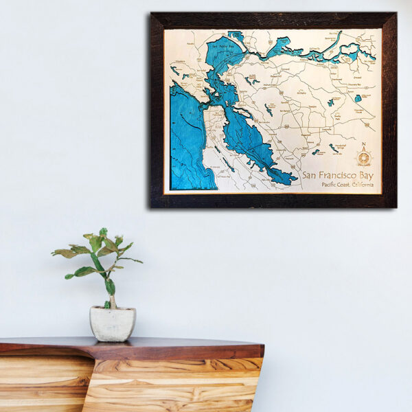 San Francisco Bay wood map 3d laser etched poster