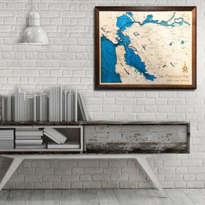 San Francisco 3d wood map home decor