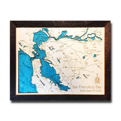 san francisco 3d wood map framed