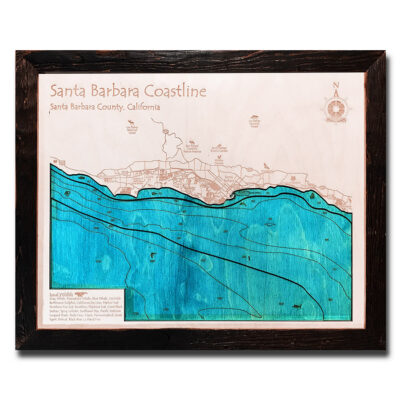 Santa Barbara wood map 3d laser printed poster wall art