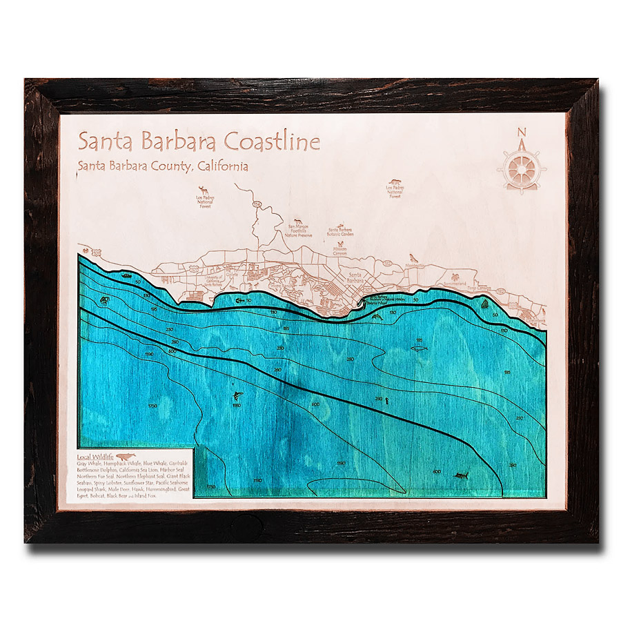 Santa Barbara Wood Map Laser Printed Poster Wall Art
