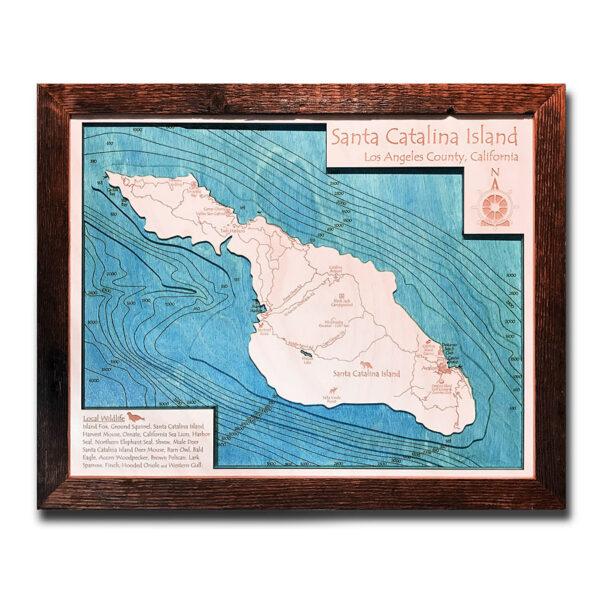 Catalina Island 3d wooden map wall art