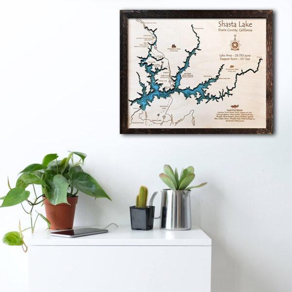 Shasta Lake wood map poster