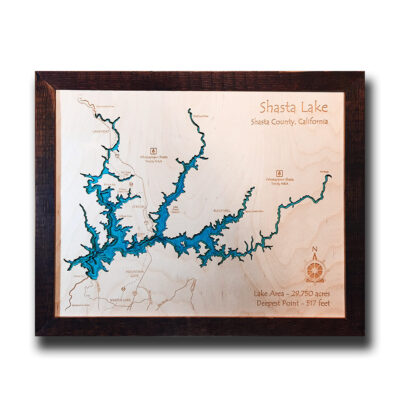 Shasta Lake, CA 3d wood map
