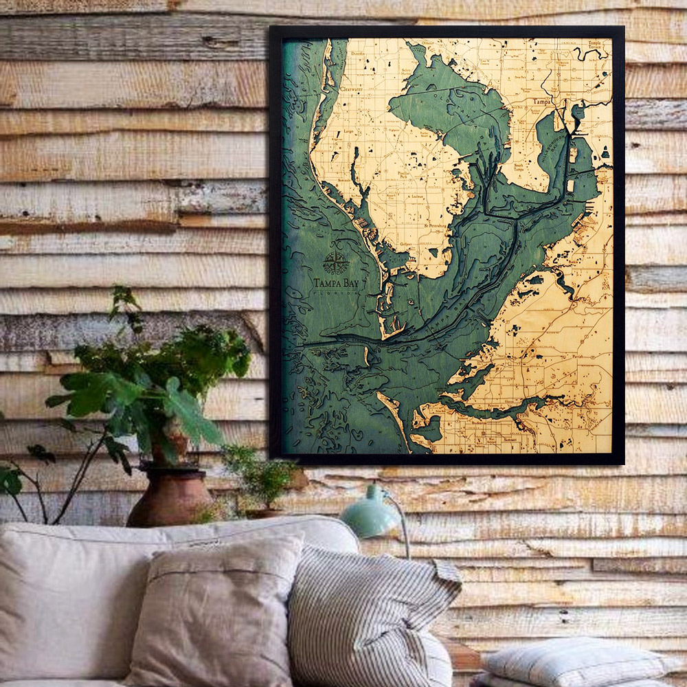 Tampa Topographic Map.Tampa Bay Fl 3d Wood Map Framed 3d Topographic Wood Chart