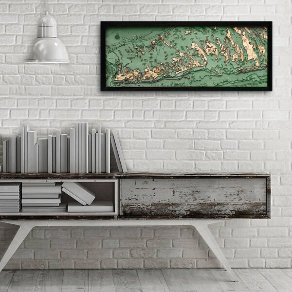 Florida Keys wood map, Florida Keys poster