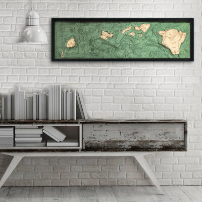 Hawaiian Islands wood map, 3d wood poster