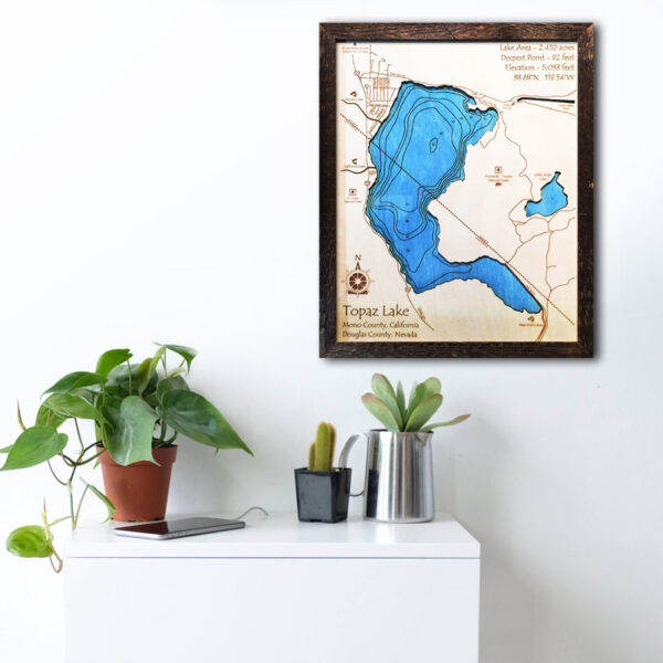 Topaz Lake wood map poster