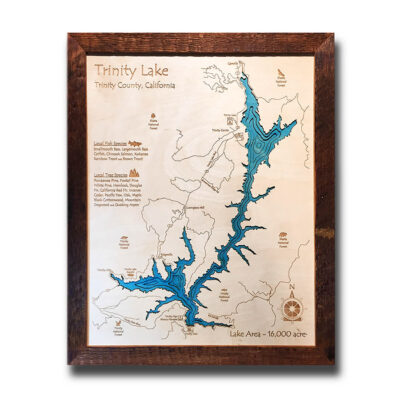 Trinity Lake 3d wooden map