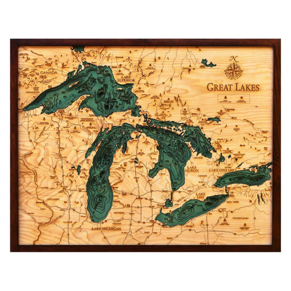 Wood map of the Great Lakes in 3D, Nautical Topo Chart
