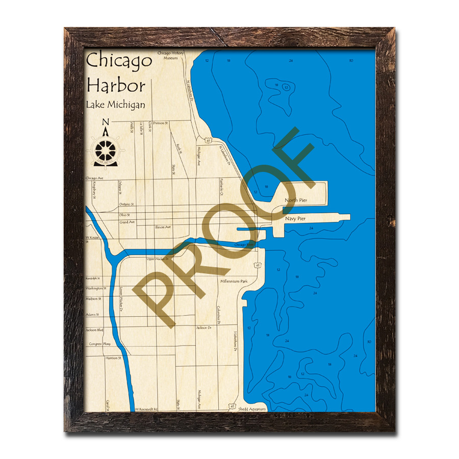 Chicago Harbor Wood Map