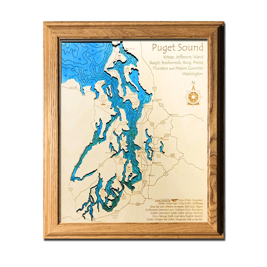 Puget Sound laser-etched wood map, laser-printed poster wall art