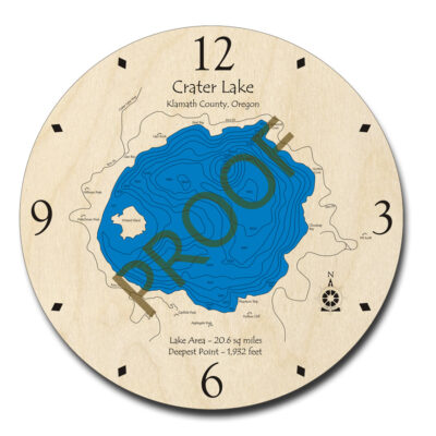 Crater Lake wooden clock in 3d