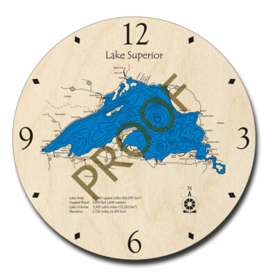 Lake Superior Wooden Clock, 3D Map